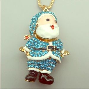 Betsey Johnson Necklace Blue Crystal Santa Claus